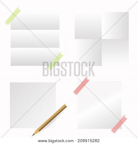 Set of Papers and Red Pencil Isolated on White Background