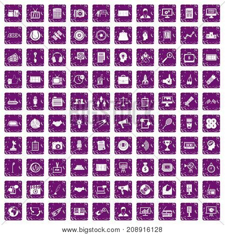 100 media icons set in grunge style purple color isolated on white background vector illustration