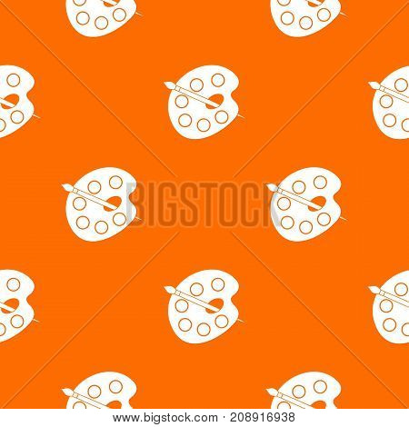 Palette pattern repeat seamless in orange color for any design. Vector geometric illustration