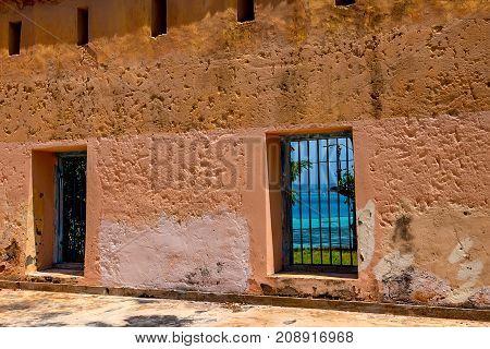 The old prison courtyard on Prison Island, Zanzibar, Tanzania, East Africa.