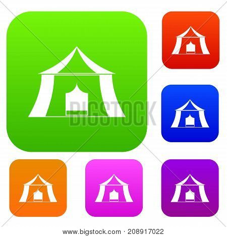 Hiking pavilion set icon color in flat style isolated on white. Collection sings vector illustration