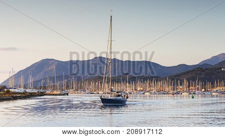 NYDRI, GREECE - OCTOBER 2, 2017: Sail boats in the harbour of Lefkada town, Greece on October 2, 2017.