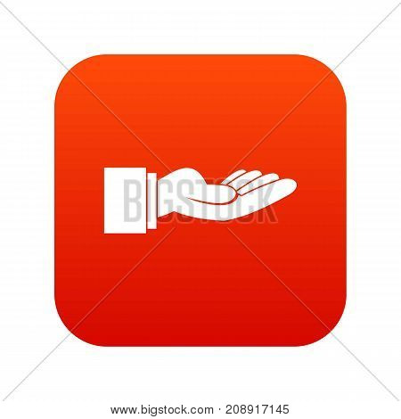 Outstretched hand gesture icon digital red for any design isolated on white vector illustration