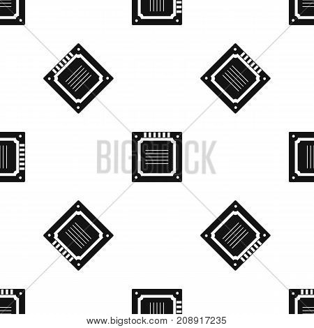 Modern multicore CPU pattern repeat seamless in black color for any design. Vector geometric illustration