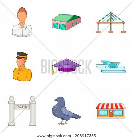 Service clerk icons set. Cartoon set of 9 service clerk vector icons for web isolated on white background