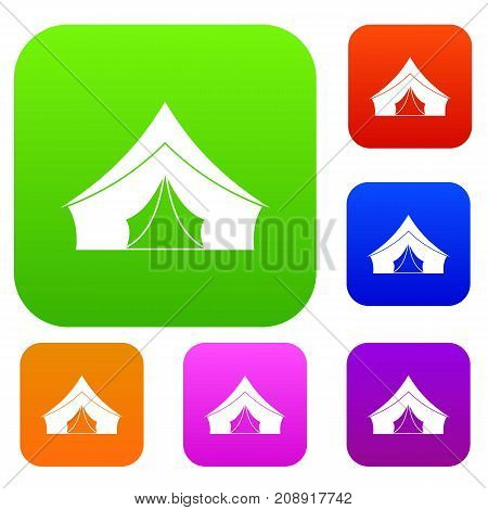Tent with a triangular roof set icon color in flat style isolated on white. Collection sings vector illustration