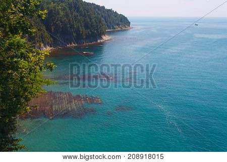 Beautiful view from the high coast to the sea and the shore with coastal reefs