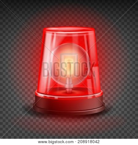 Red Flasher Siren Vector. Realistic Object. Light Effect. Beacon For Police Cars Ambulance, Fire Trucks. Emergency Flashing Siren. Transparent Background
