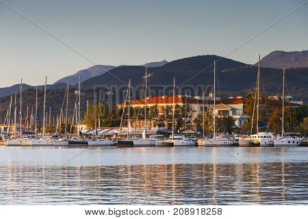 NYDRI, GREECE - OCTOBER 2, 2017: Town of Lefkada as seen over the lagoon from a distance, Greece on October 2, 2017.