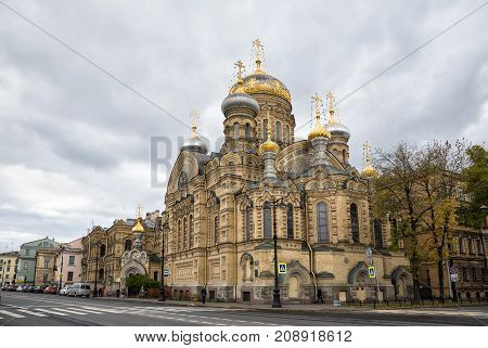 SAINT-PETERSBURG RUSSIA - OCTOBER 14 2017: Church Of The Assumption Of The Blessed Virgin. Metochion Kozelsky Vvedenskaya Optina Pustyn former metochion of Kiev Pechersk Lavra