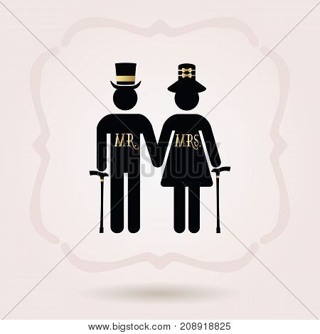 Black senior Mr and Mrs couple symbol icons with hats and walking stick on pink background