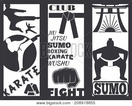 Set of cool fighting club fight cards. Martial training champion brochure graphic style. Punch sport fist karate vintage symbol vector illustration.