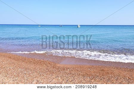 landscape of Koroni beach Messinia Peloponnese Greece - famous greek summer places