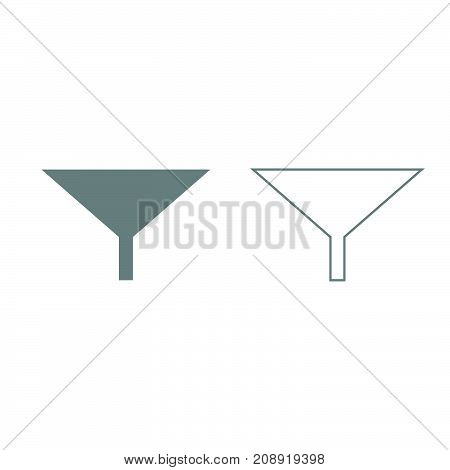 Filter Or Funnel Grey Set Icon .