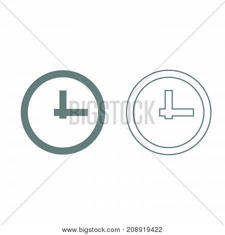 Clock Grey Set Icon .