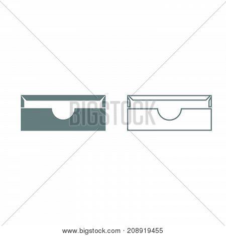Stationary Paper Tray Grey Set Icon .