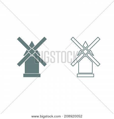 Windmill Grey Set Icon .