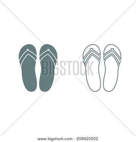 Beach Slippers Grey Set Icon .