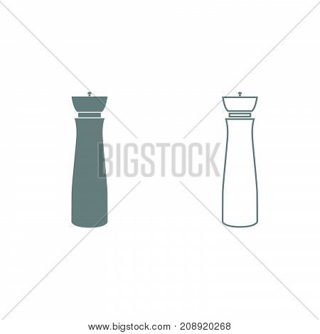 Salt And Pepper Mill Grey Set Icon .