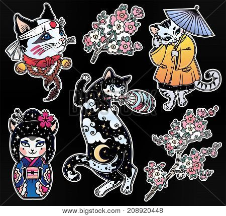 Set of cute style Japanese Cat oriental patches or elements. Traditional asian kitten stickers, comic pins. Pop art items. Pop collection, accessory kit. Colorful kitten designs. Isolated vector art.