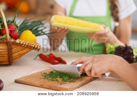 Close-up of human hands cooking vegetables salad in kitchen. Healthy meal and vegetarian concept.