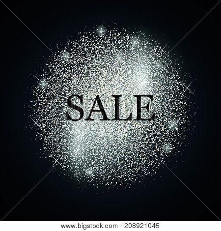 Silver glitter salling background for flyer, poster, shopping. Vector sale frame.