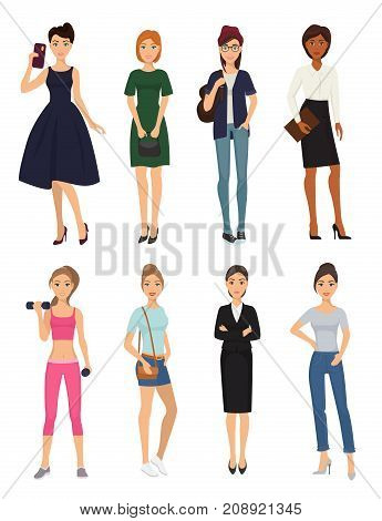 Fashion model clothes character looks style elegant woman shopping glamour girls stylish clothing pretty girlfriends people vector illustration. Casual garments elegant fashionable accessories.