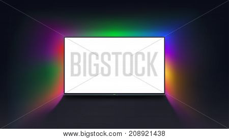 illustration of tv with white screen on dark background with colorful light around tv
