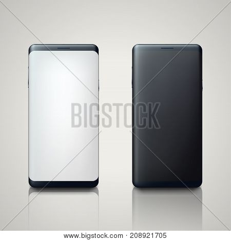 illustration of new edge to edge design smartphone front and back on bright background