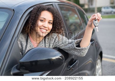 Girl Happy After Purchasing A New Car