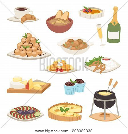 French cuisine traditional food delicious meal healthy dinner lunch continental Frenchman gourmet plate dish vector illustration. Diet rustic restaurant fried tasty cooked breakfast.
