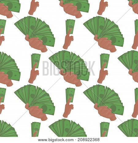 Hands holding dollars and money bills. Vector illustration in flat style. Businessman financial rich people body part. Success banknote currency cash background seamless pattern.