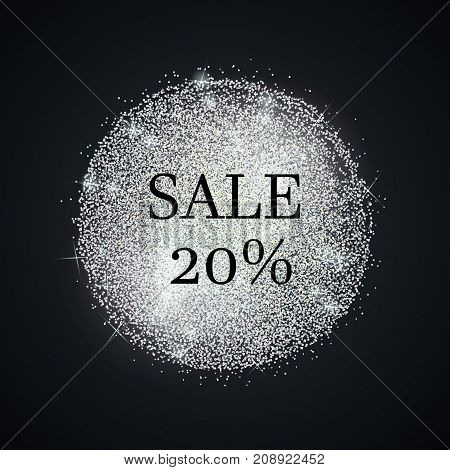 Sale silver template. Vector shining background. Glitter dotted label.