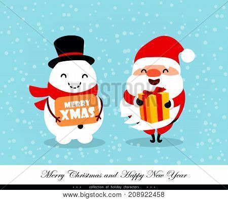 Santa Claus and Snowman with congratulations and a gift. Emotional Christmas and New Year's characters. Humorous xmas collection. Good for card banner flayer leaflet poster. Vector illustration