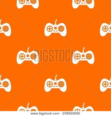 Video game console controller pattern repeat seamless in orange color for any design. Vector geometric illustration