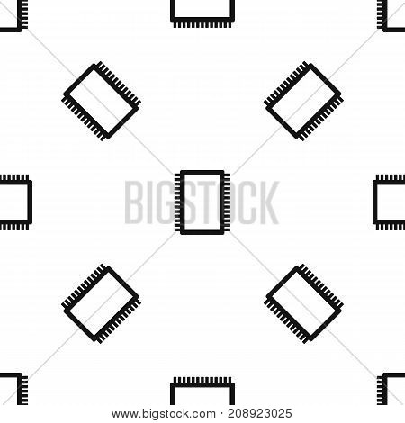 Computer electronic circuit board pattern repeat seamless in black color for any design. Vector geometric illustration