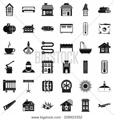 Radiator icons set. Simple style of 36 radiator vector icons for web isolated on white background