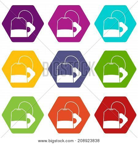 Teabag icon set many color hexahedron isolated on white vector illustration