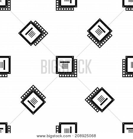 Computer CPU processor chip pattern repeat seamless in black color for any design. Vector geometric illustration