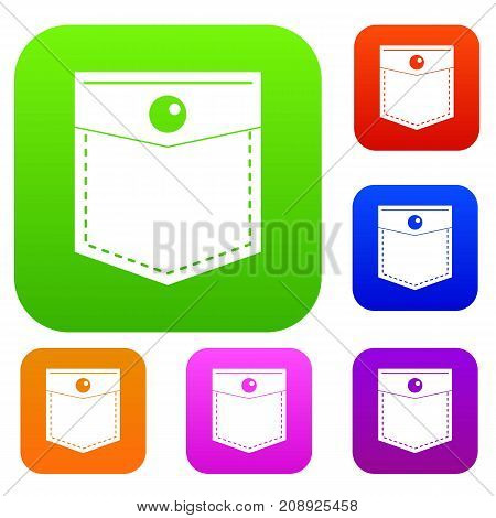 Black pocket symbol set icon color in flat style isolated on white. Collection sings vector illustration