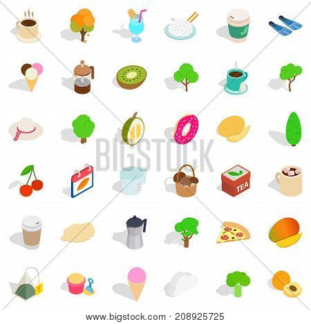 Ground icons set. Isometric style of 36 ground vector icons for web isolated on white background
