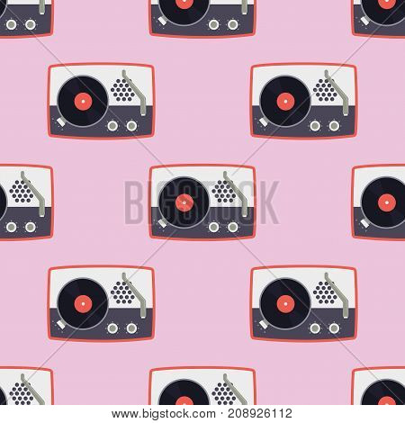 Player for vinyl record music flat seamless pattern sound audio vintage gramophone vector illustration. Technology vinyl turntable stereo background.