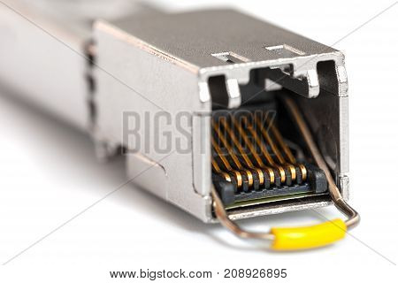 Internet SFP (Small Form-factor Pluggable) network modules for network switch close up. Isolated.