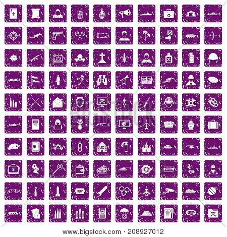 100 military icons set in grunge style purple color isolated on white background vector illustration