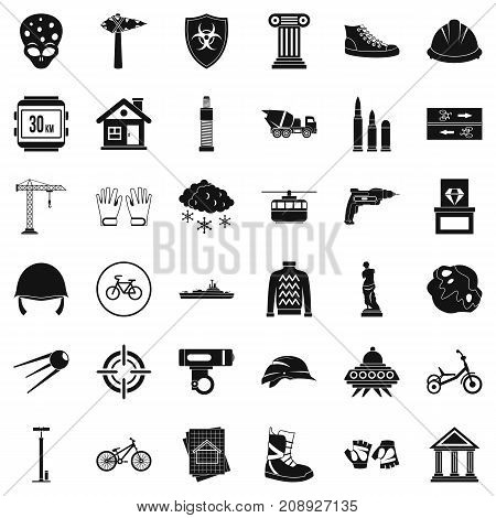 Alien icons set. Simple style of 36 alien vector icons for web isolated on white background