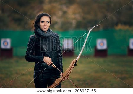 Archer Woman with Bow and Arrow in Target  Training