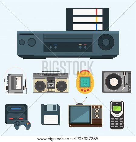 Vintage technologies icon vector set. Camera phone retro audio multimedia player entertainment design. Old electronic gadget communication illustration.