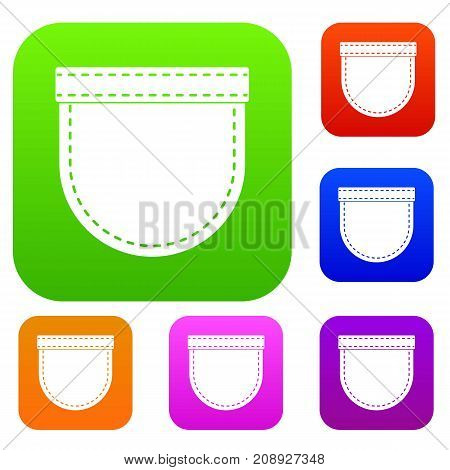 Shirt pocket set icon color in flat style isolated on white. Collection sings vector illustration