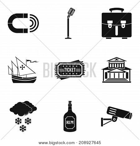 Visual distortion icons set. Simple set of 9 visual distortion vector icons for web isolated on white background