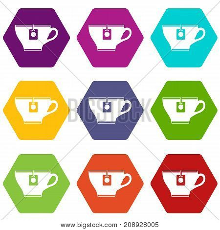 Cup with teabag icon set many color hexahedron isolated on white vector illustration